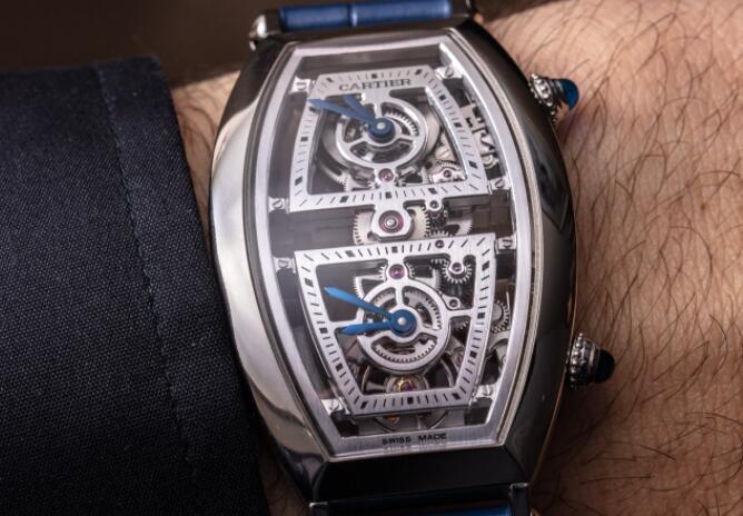 Copy Cartier Prive Tonneau Skeleton XL Dual Time Watch